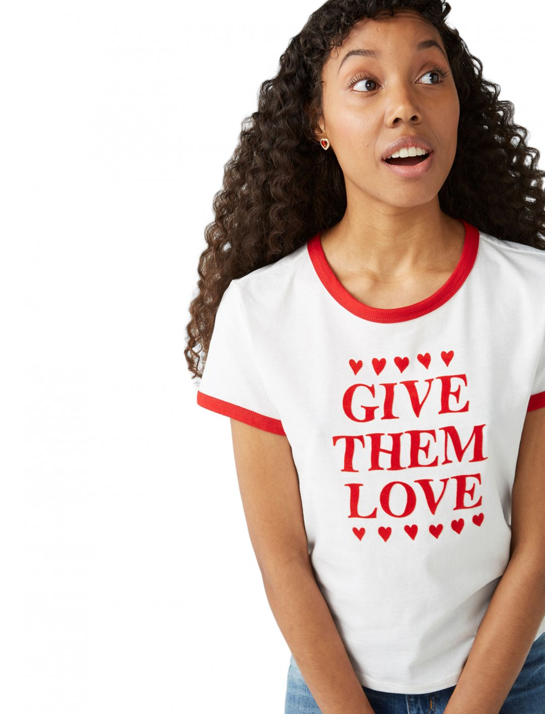"'Give Them Love' T-Shirt {""id"":5,""product_section_id"":1,""name"":""Clothing"",""order"":5} Monki"