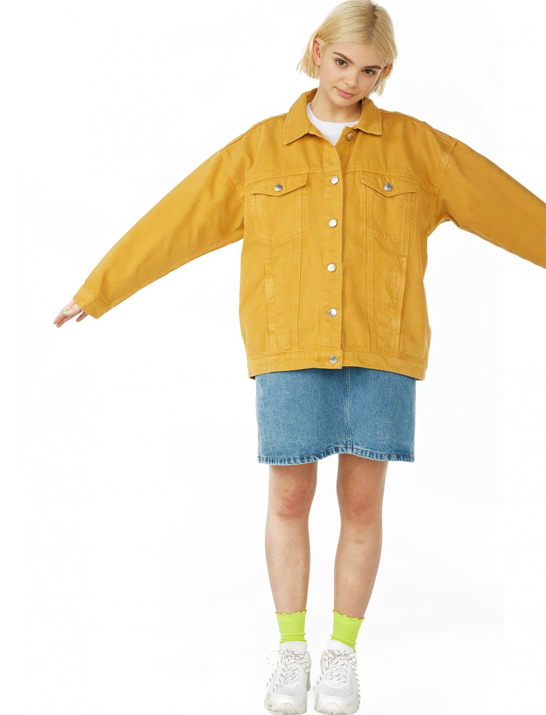 "Yellow Denim Jacket {""id"":5,""product_section_id"":1,""name"":""Clothing"",""order"":5} Monki"