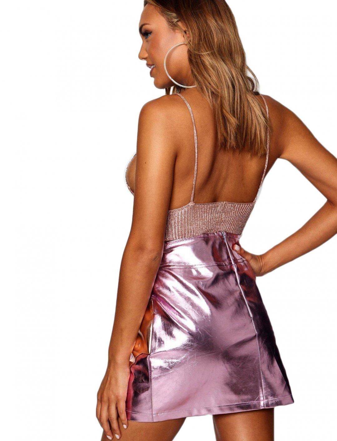 "Metallic Skirt {""id"":5,""product_section_id"":1,""name"":""Clothing"",""order"":5} boohoo"