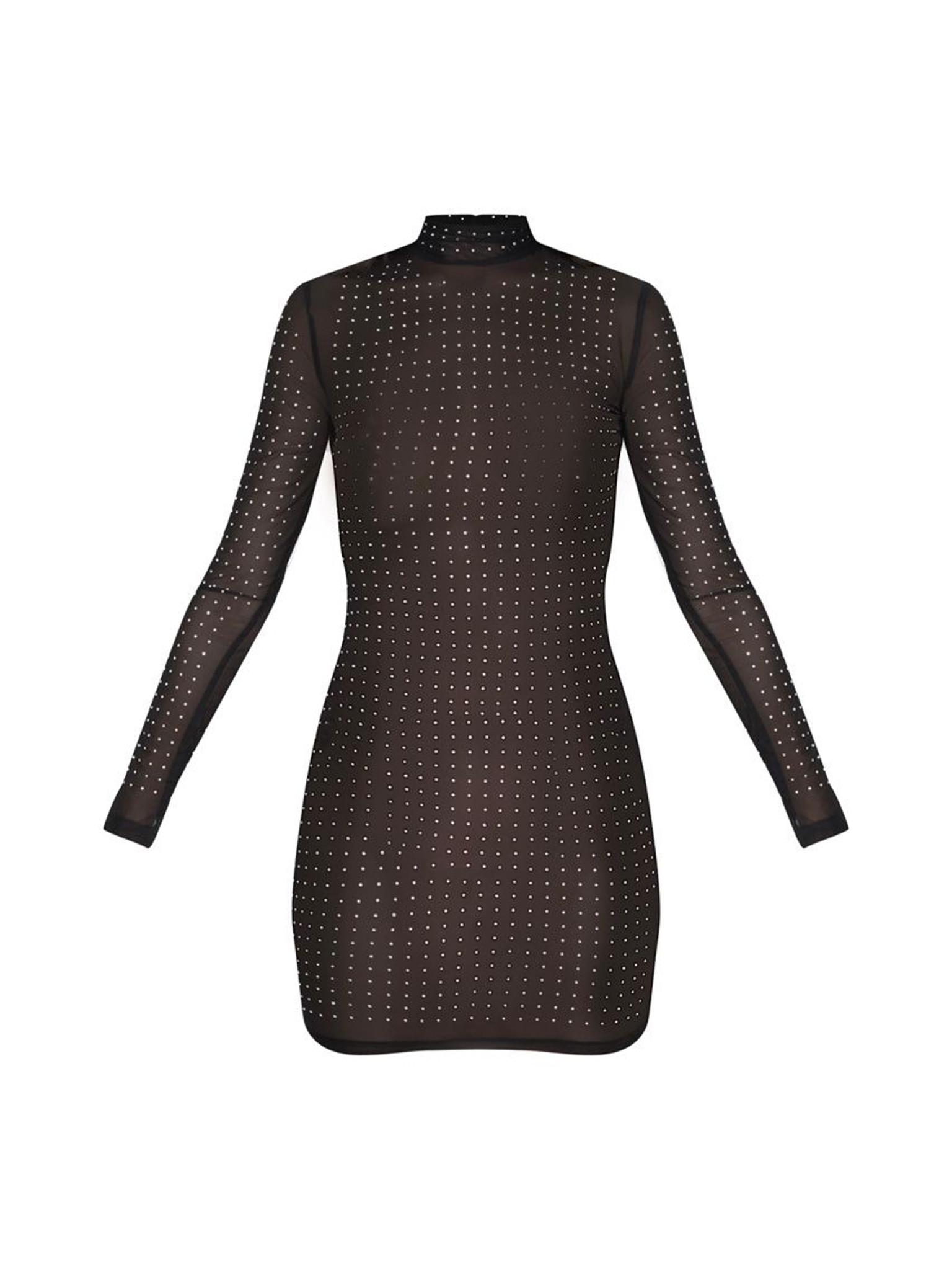 Diamante Detail Mesh Bodycon Dress