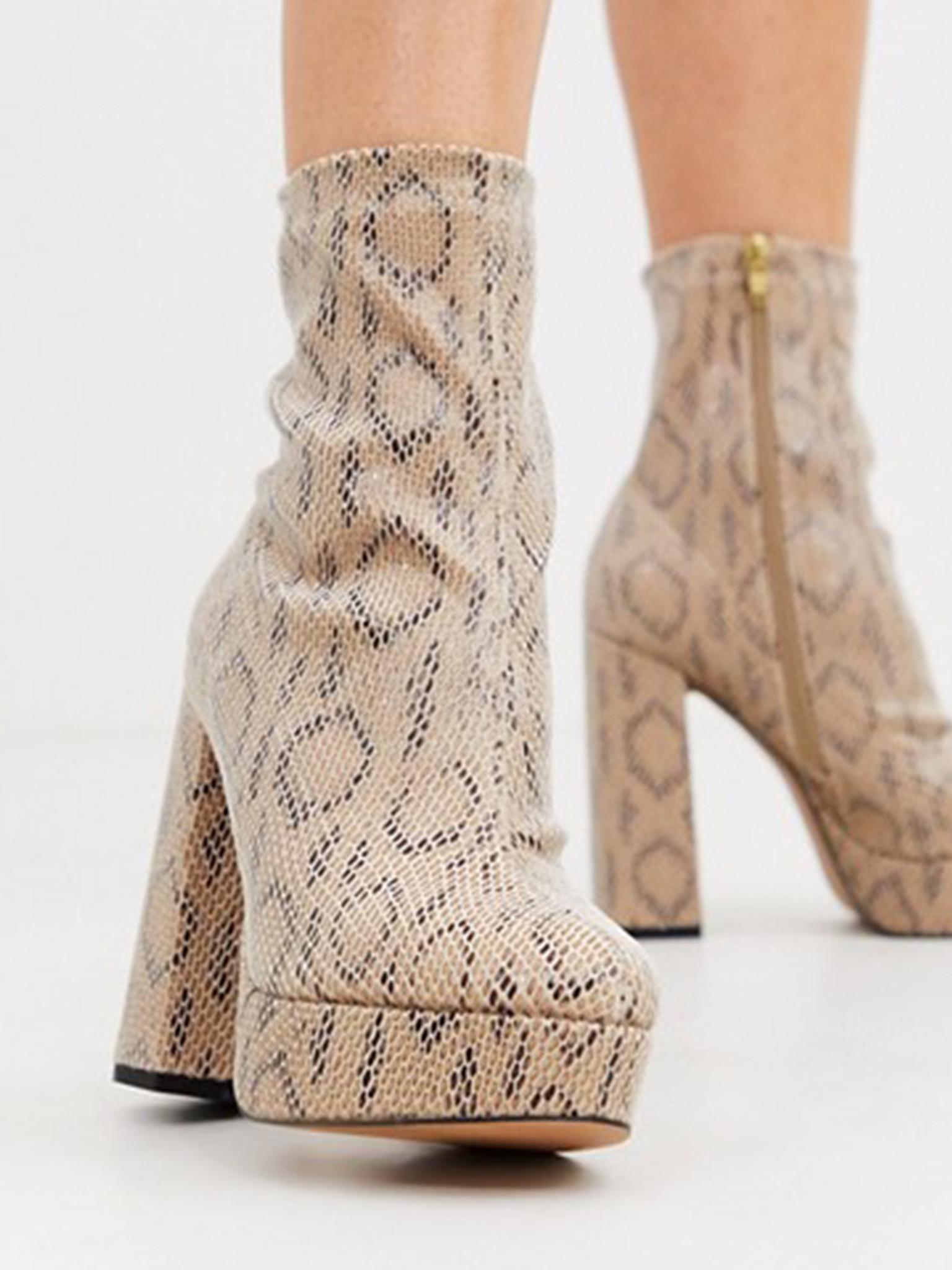 Platform Sock Boots In Snake