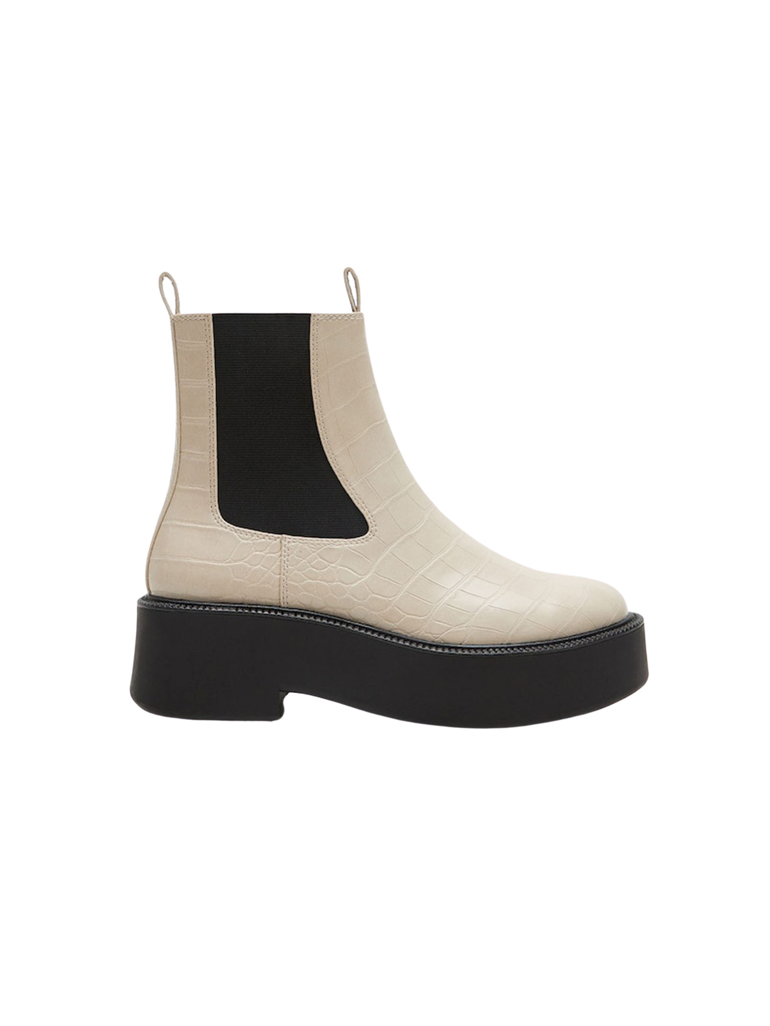 Croc-Effect Ankle Boots