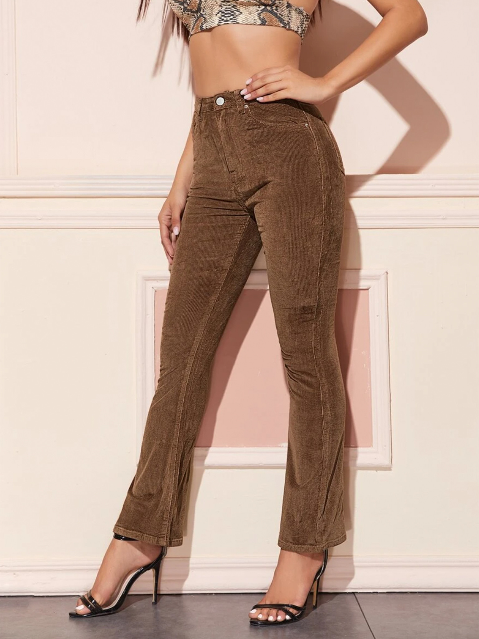 High Waist Flare Leg Corduroy Trousers