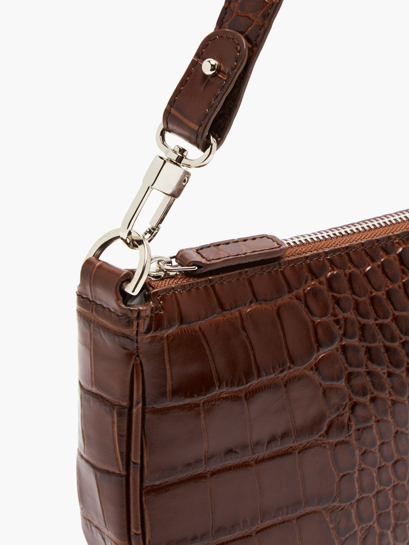 Crocodile-Effect Leather Shoulder Bag