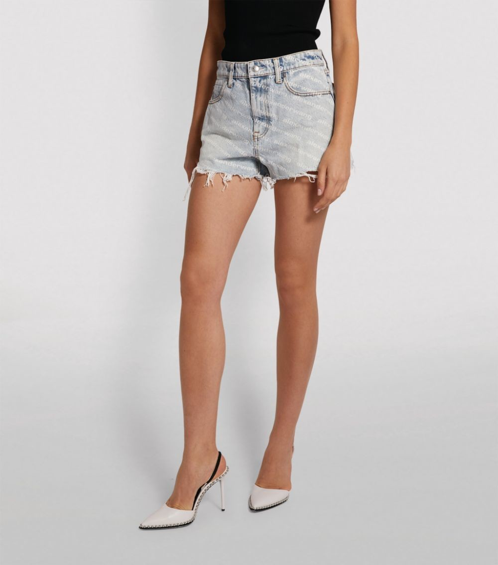 Logo Print Cut-Off Denim Shorts