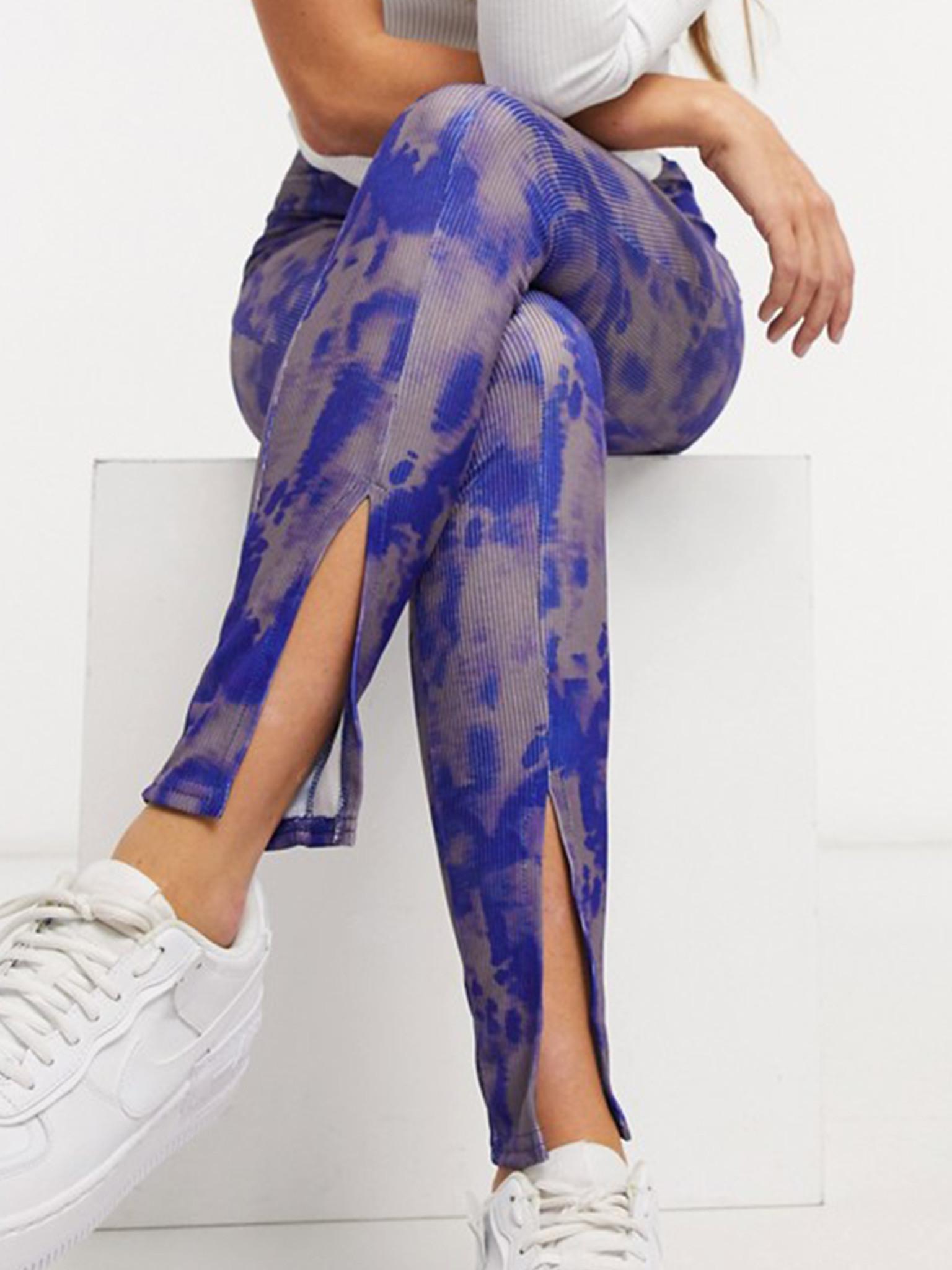 Tie Dye Split Hem Skinny Trouser