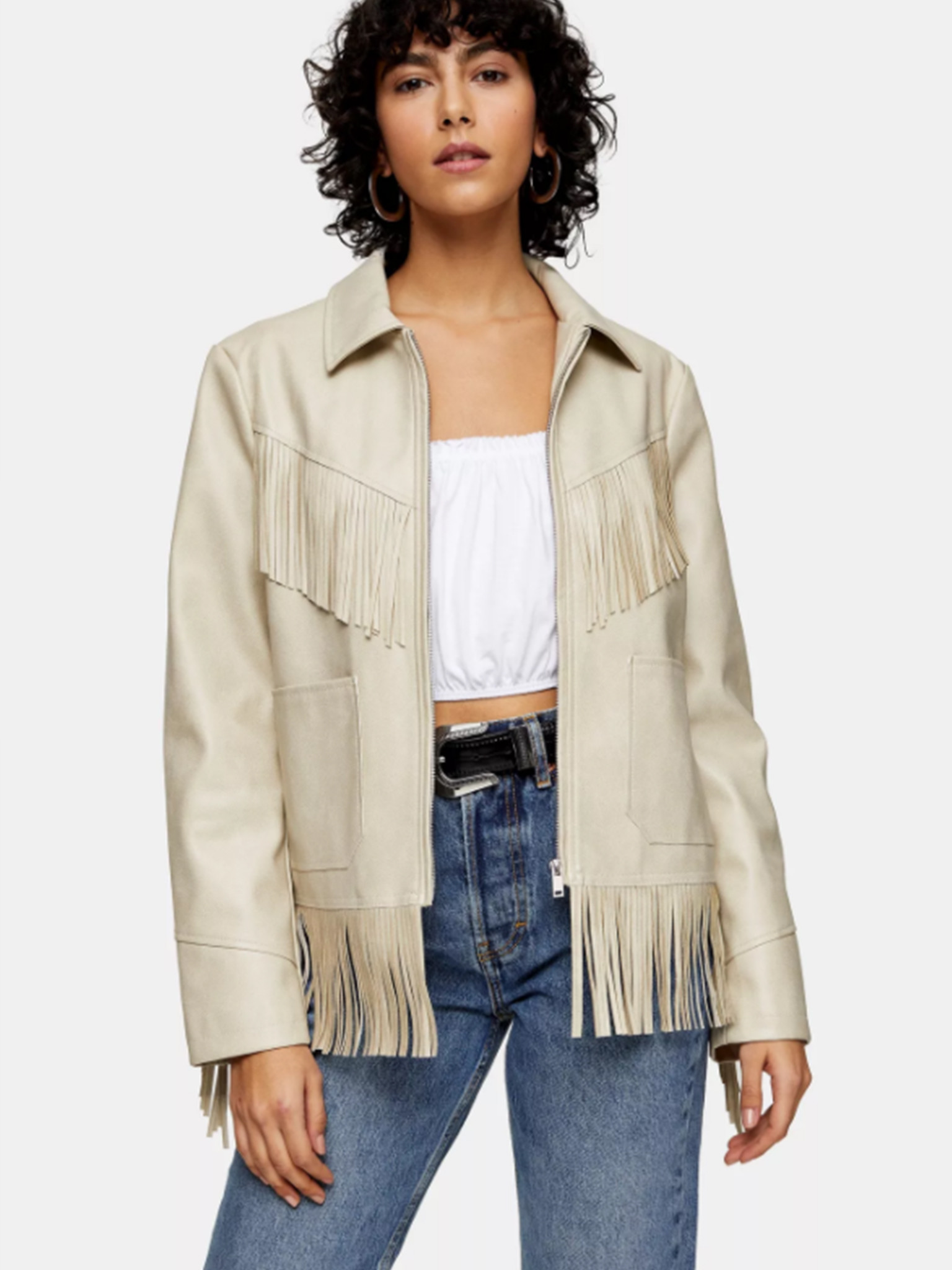 Faux Leather Fringe Jacket In Ecru