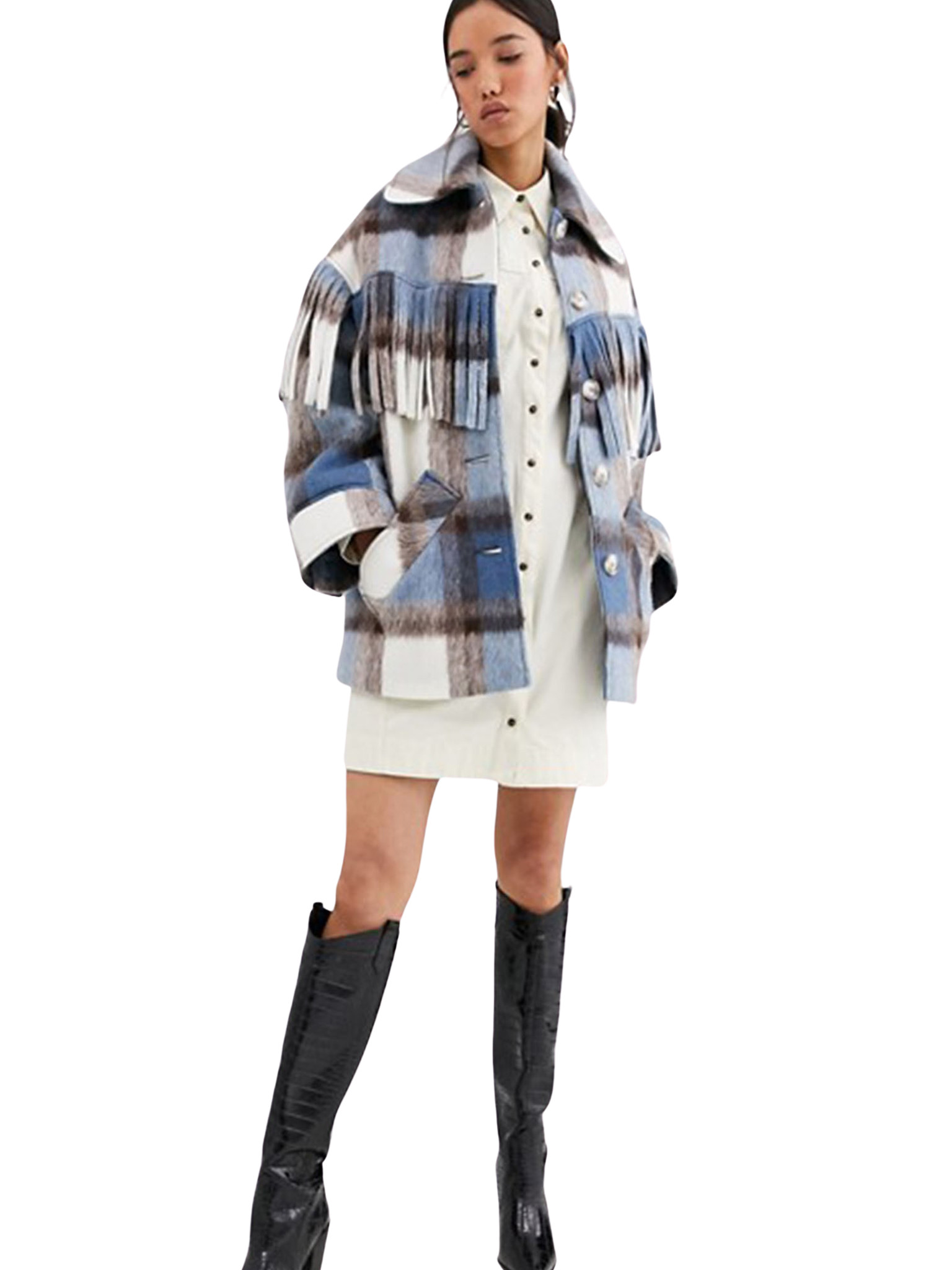 Wool Check Fringed Coat