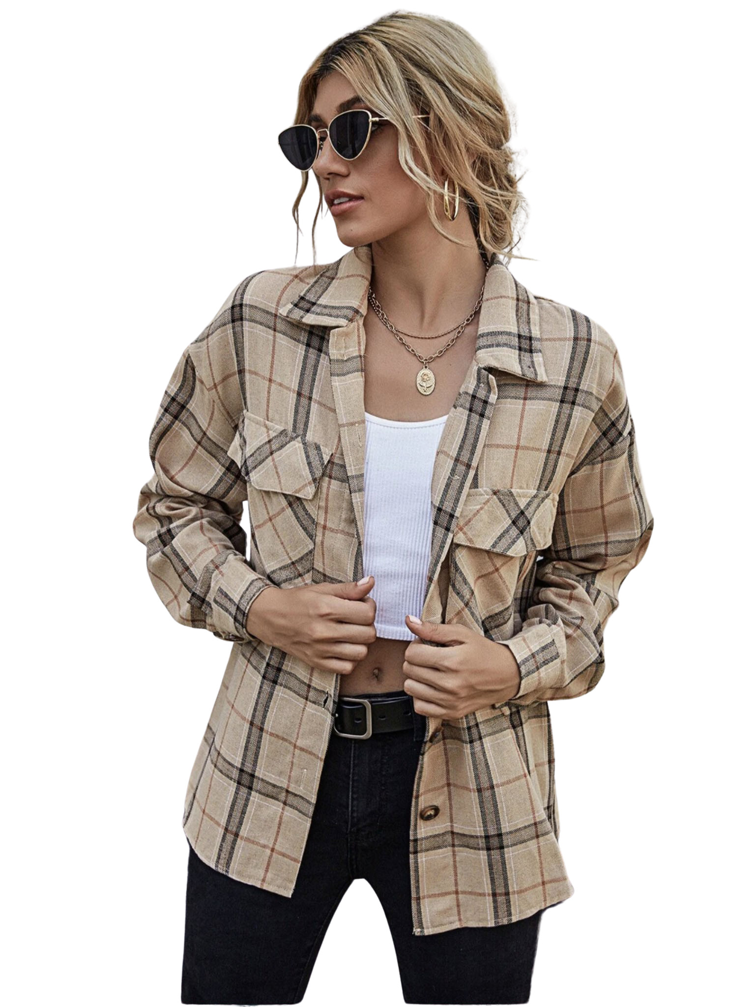 Drop Shoulder Plaid Blouse