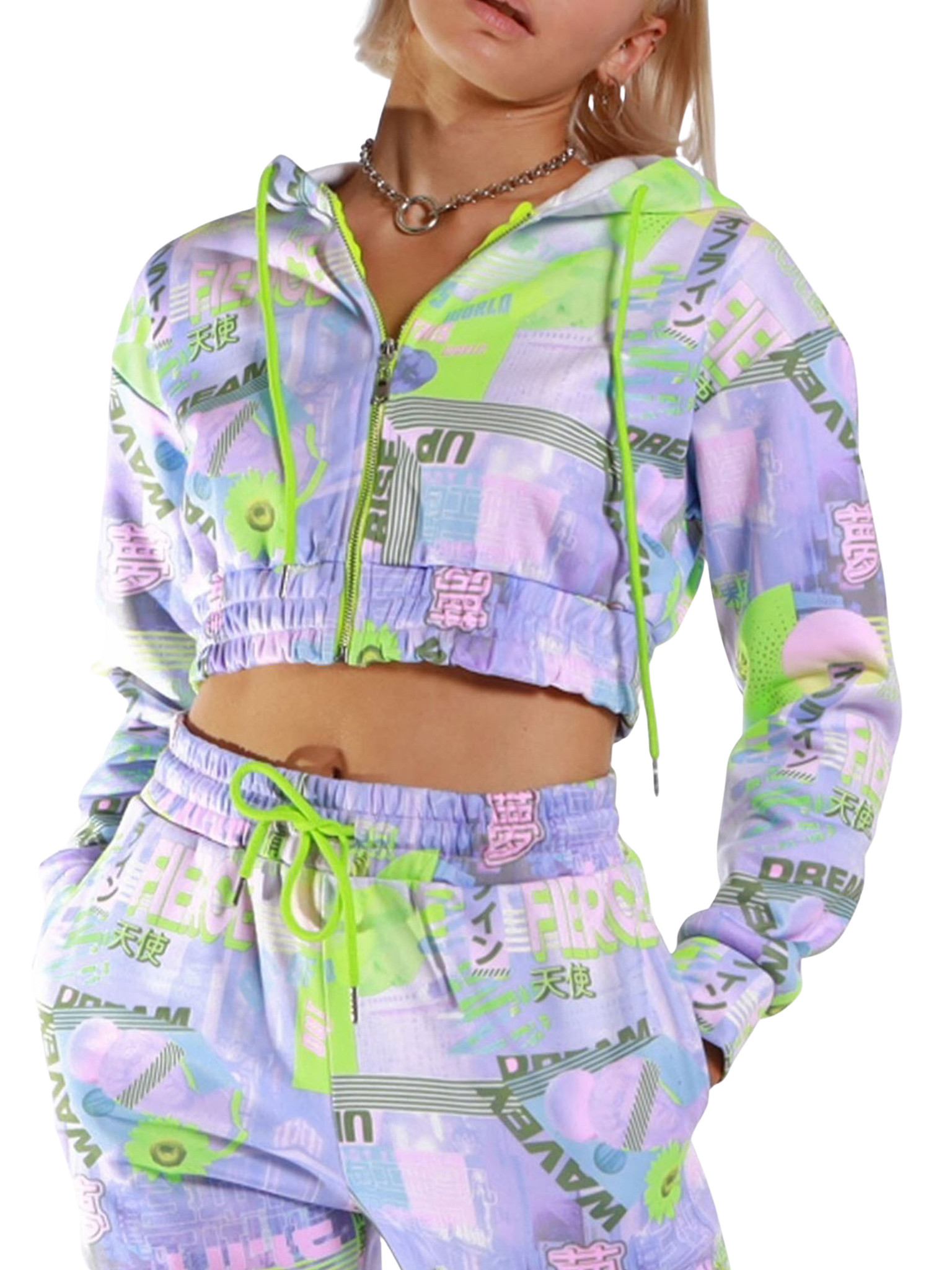 Cropped Zip Through Hooded Sweatshirt