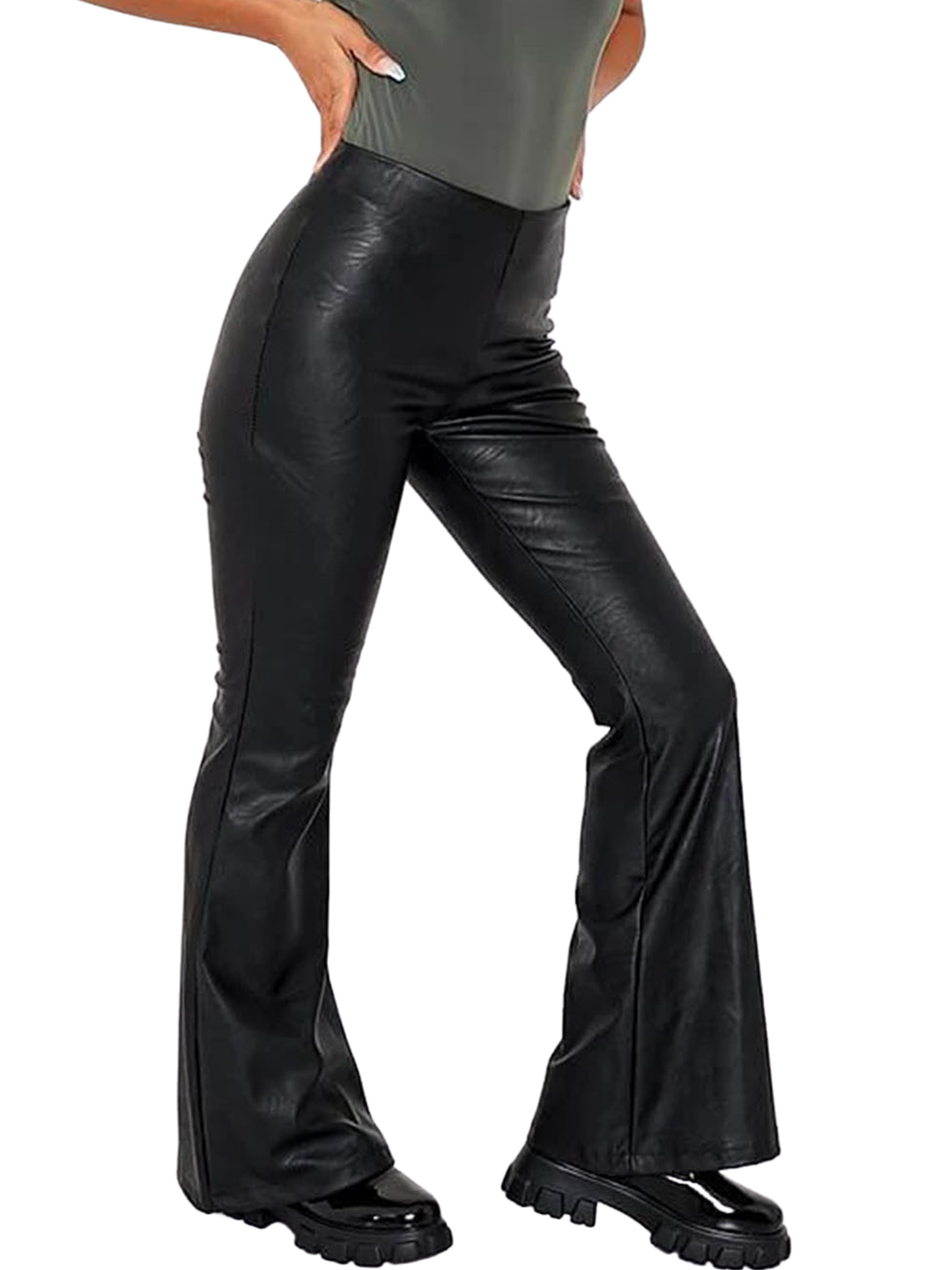 Faux Leather Kick Flare High Waisted Trouser, Black, I Saw It First