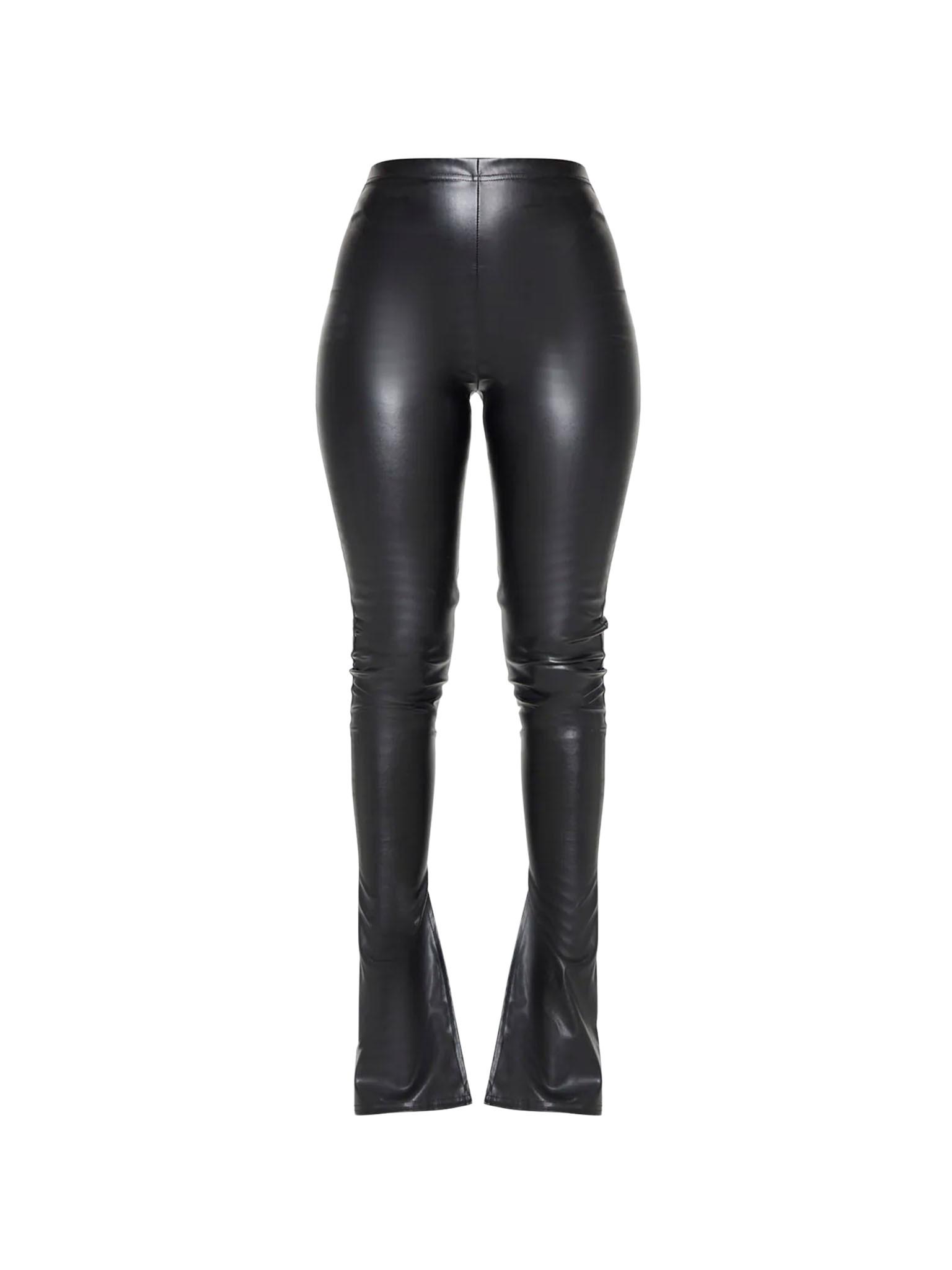 Black Kick Flare Faux Leather Leggings, Pretty Little Thing