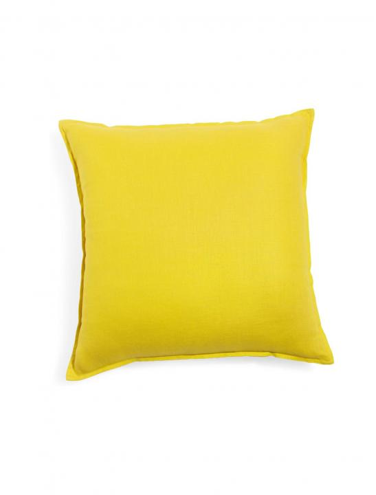 Washed Linen Cushion In Yellow - Celebrity Big Brother 2017