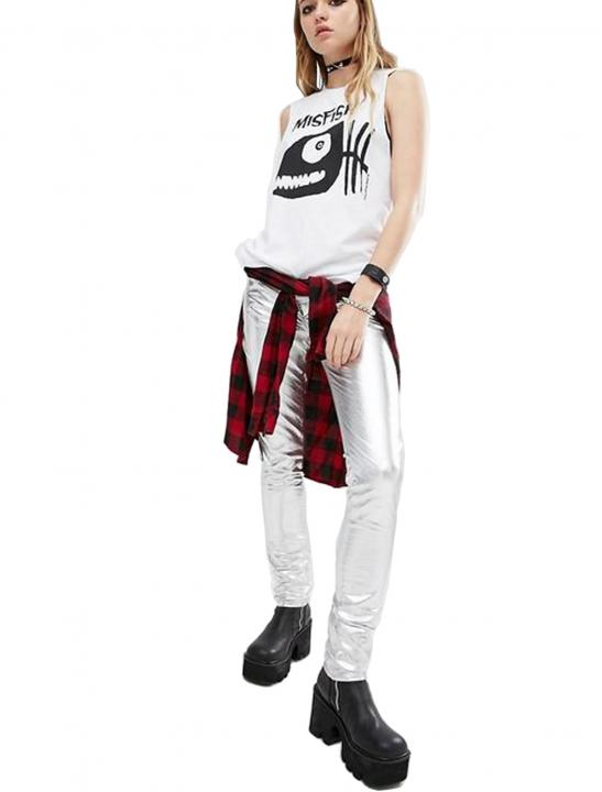 Metallic Faux Leather Skinny Trousers - Lady Leshurr
