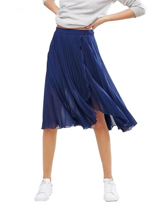 Pleated Midi Skirt with Wrap Front Detail - Big Brother 2017