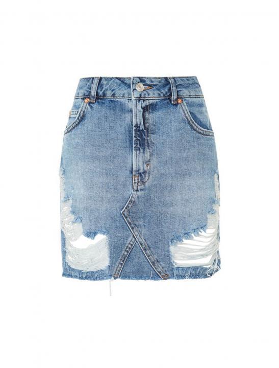 Distressed Denim Skirt - 5 After Midnight