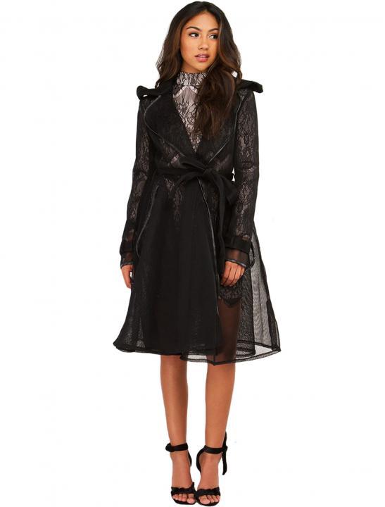 Black Mesh Coat - Zara Larsson
