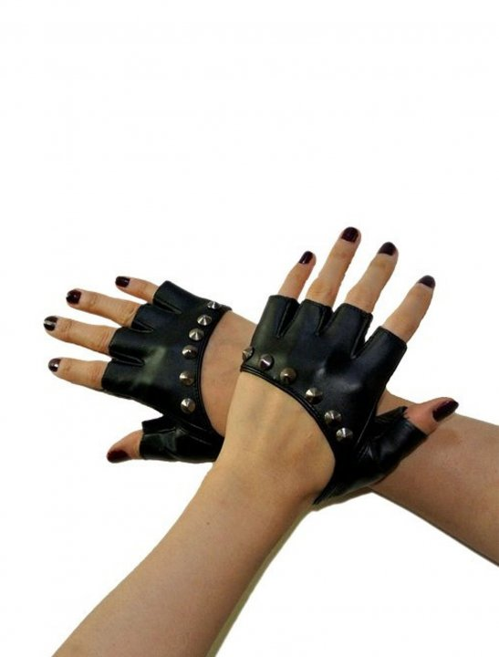 Studded Rivet Fingerless Gloves - Shakira