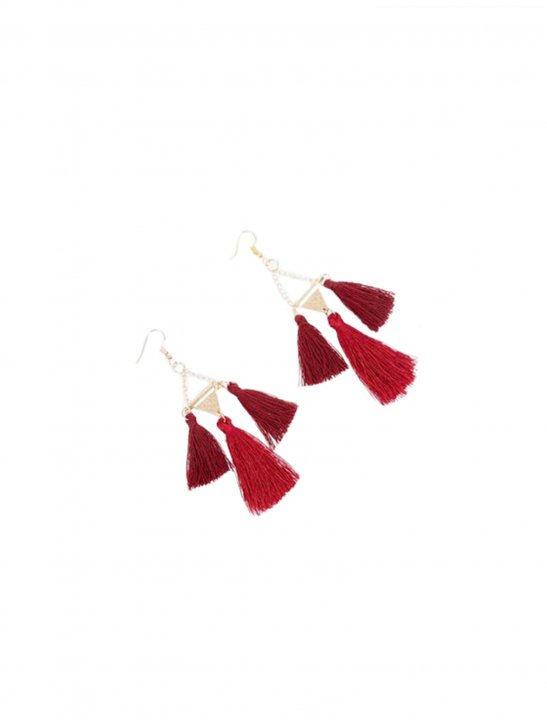 Burgundy Triple Tassel Drop Earrings - Camila Cabello