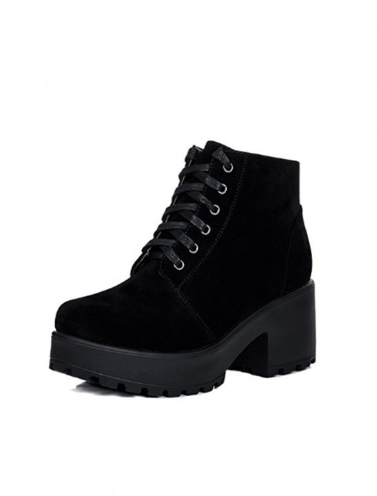 Lace Up Block Heel Boots - Noah Cyrus