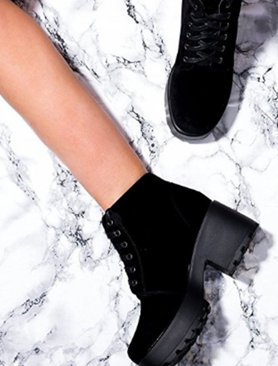 Lace Up Block Heel Boots Shoes Spylovebuy