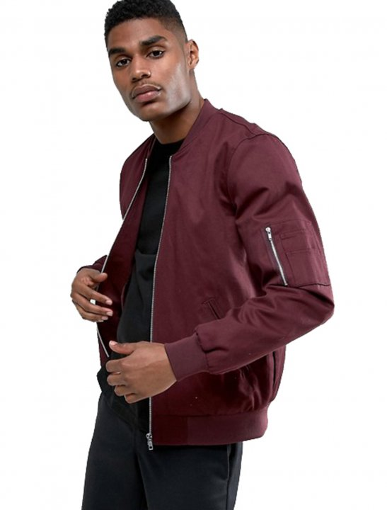 Bomber Jacket In Burgundy - Chris & Kem