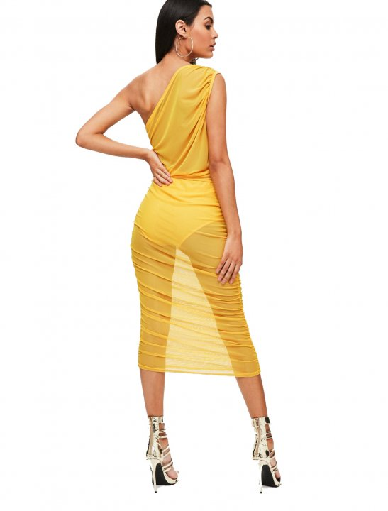 Yellow Mesh&Slinky Dress Clothing Missguided