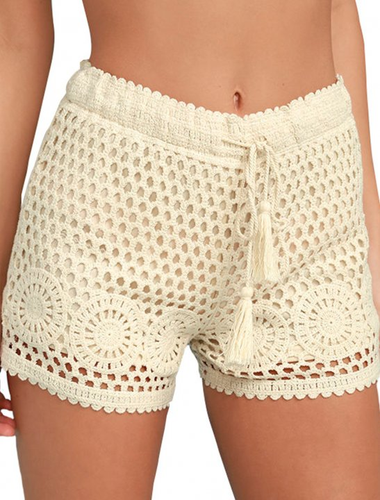 Cream Crochet Lace Shorts - N.E.R.D & Rihanna