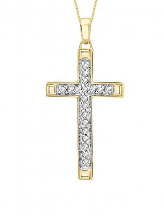 Diamond Cross Pendant Necklace Jewellery Carissima Gold