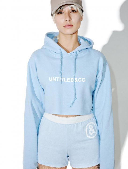 Baby Blue Cropped Hoodie Clothing Untitled & Co