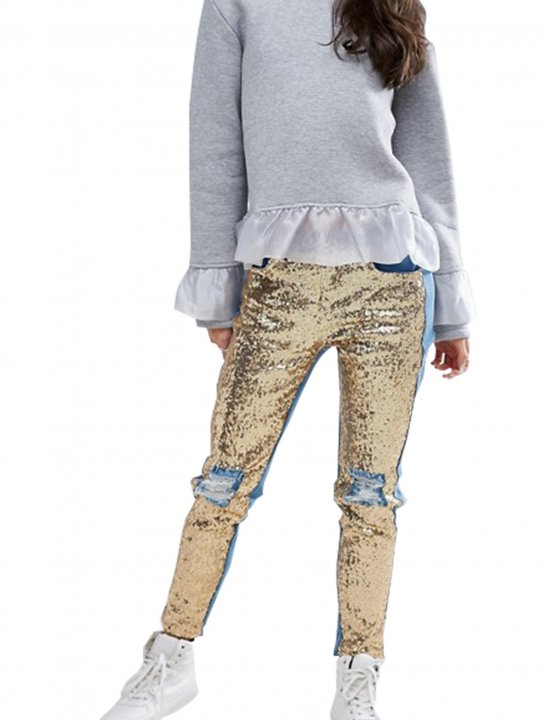 Distressed Sequin Front Skinny Jeans - Olivia Noelle