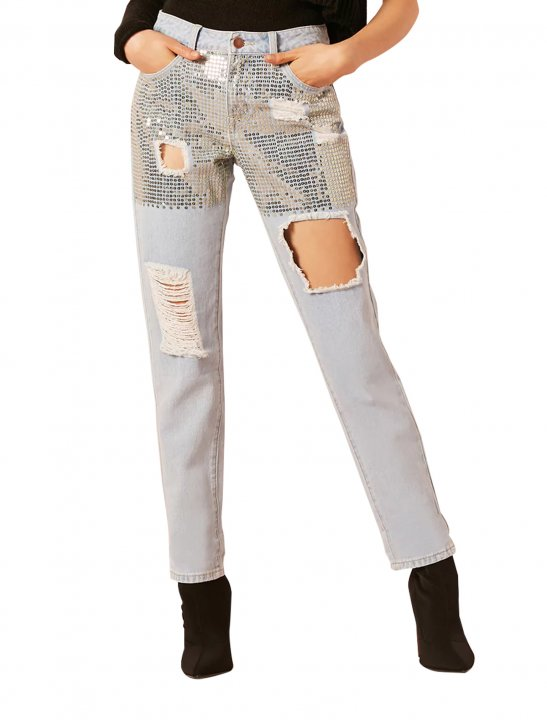Sequin Boyfriend Ankle Jeans Clothing Forever21