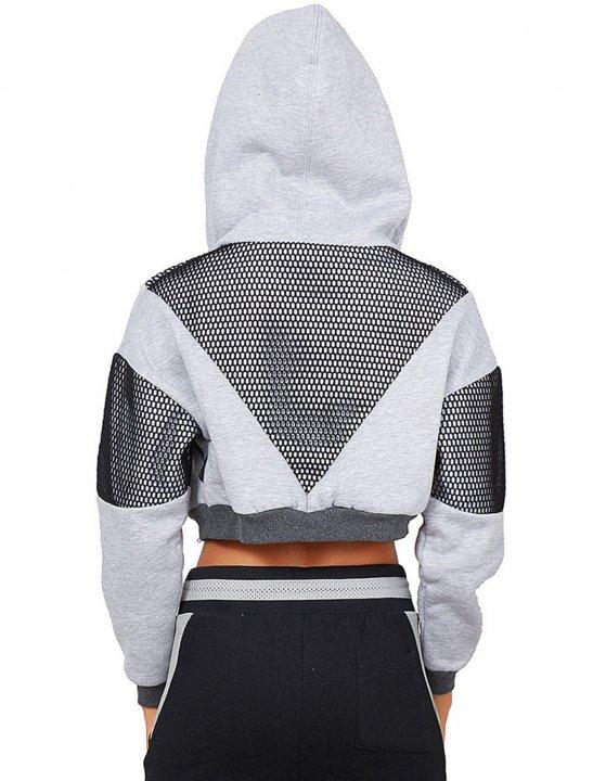 Crop Fishnet Detail Jacket Clothing