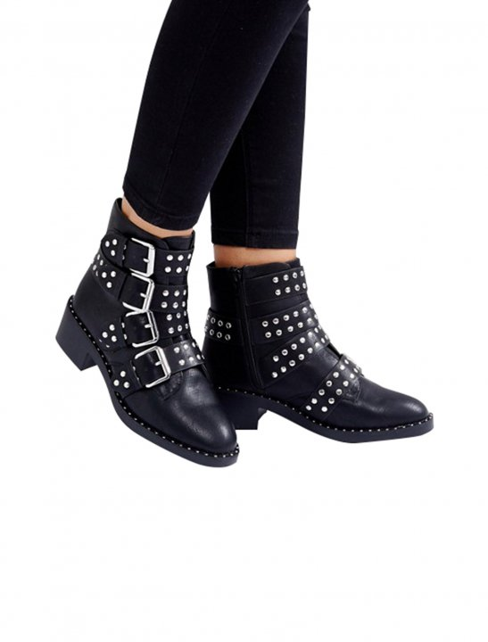 Black Studded Ankle Boots - G - Eazy