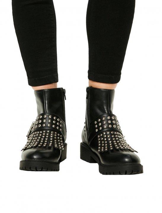 Black Studded Fringe Boots - G - Eazy