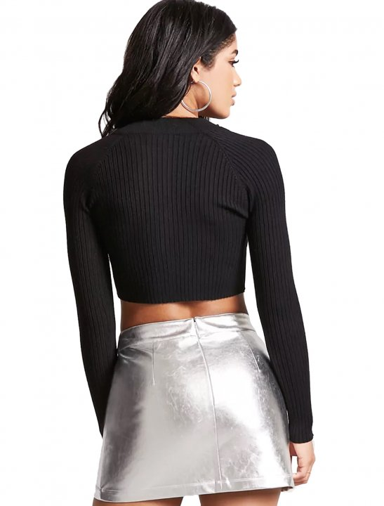 Ribbed Knit Crop Cardigan Clothing Forever 21