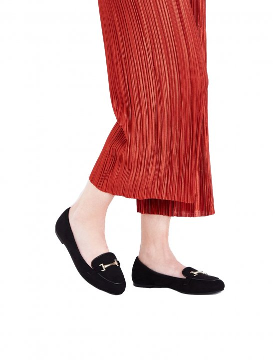 Black Suedette Loafers Shoes New Look