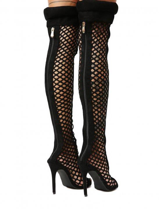 Fishnet Thigh High Boots - Pitbull