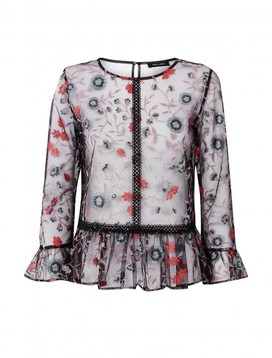 Floral Embroidered Mesh Peplum Top - Pitbull