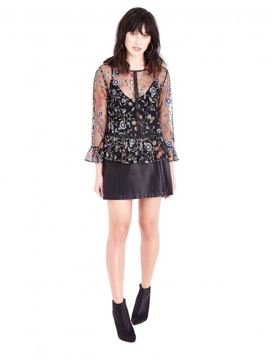 Floral Embroidered Mesh Peplum Top Clothing New Look