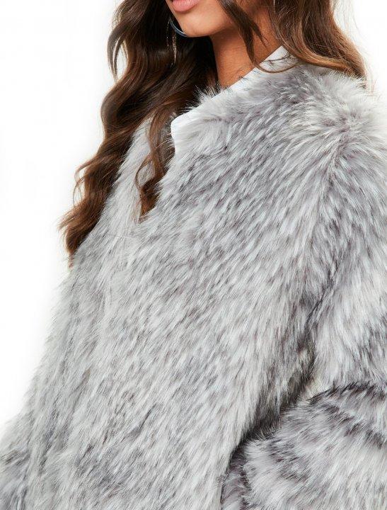 Grey Faux Fur Coat - Bea Miller