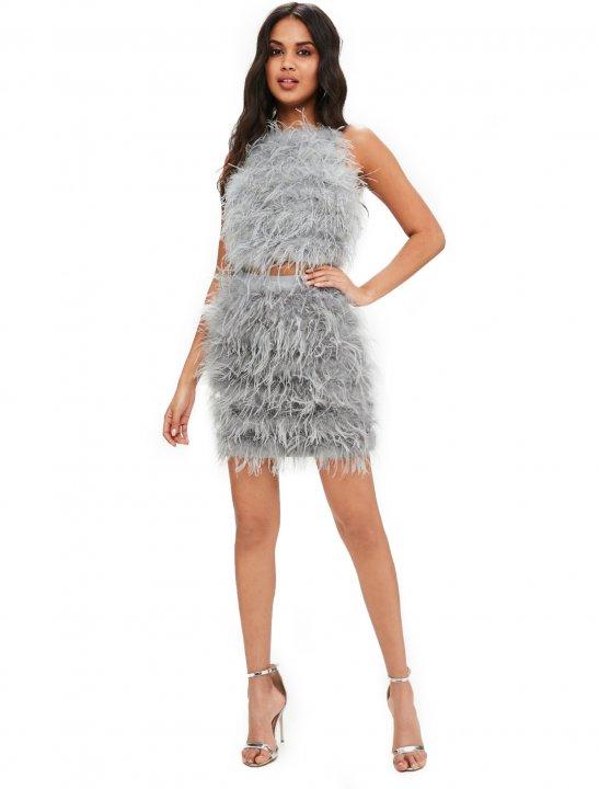 Grey Feather Mini Skirt - Bea Miller