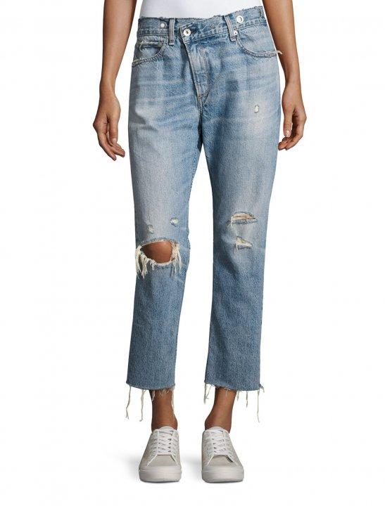Deconstructed Denim Jeans - Pink