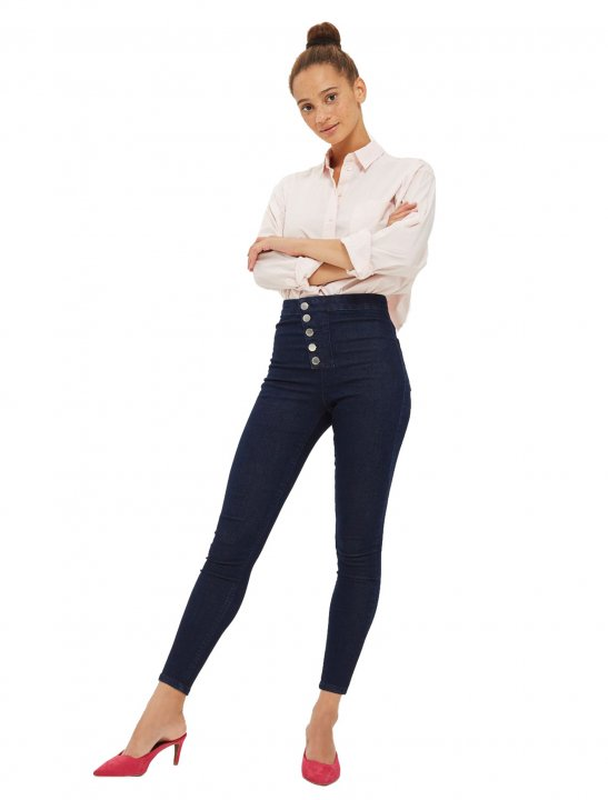 Blue Button Jeans Clothing Moto
