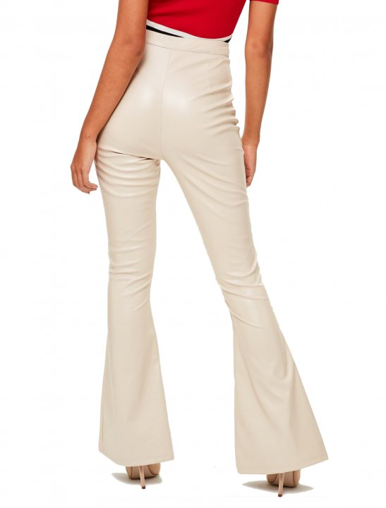 Nude Faux Leather Trousers Clothing Missguided