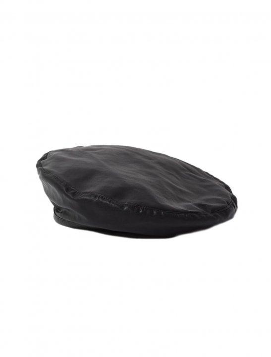 Black Faux Leather Beret - Marshmello