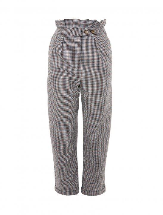 Ruffle Checked Peg Trousers - Marshmello