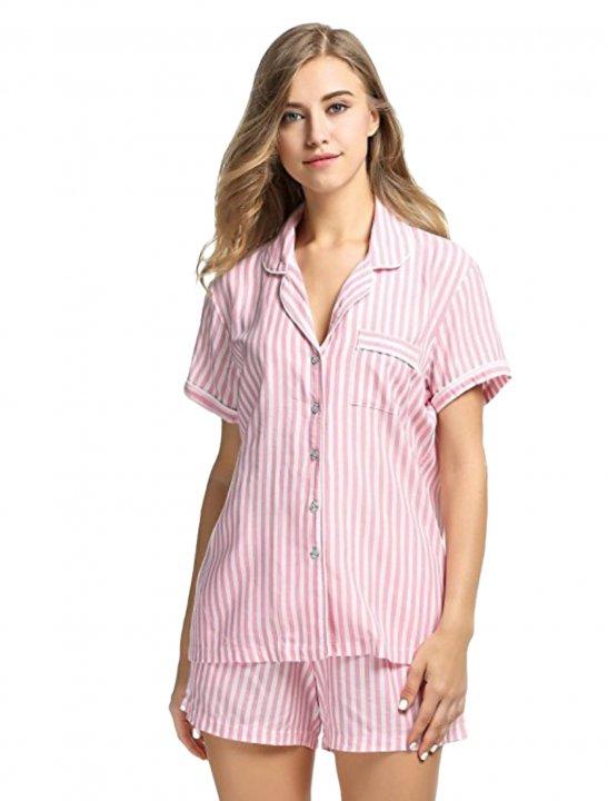 Striped Pajama Set - Marshmello