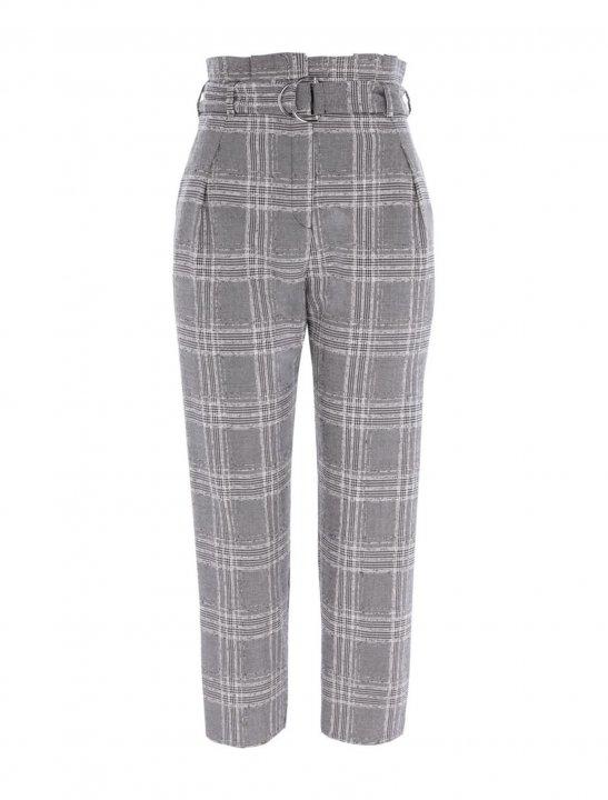 Grey Check Paperbag Trousers - Marshmello