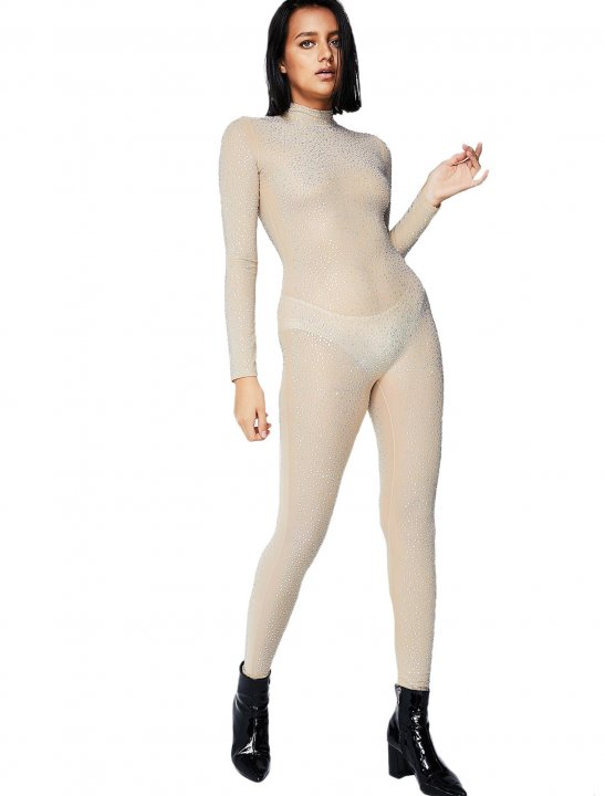 Nude Glitter Catsuit - Meghan Trainor